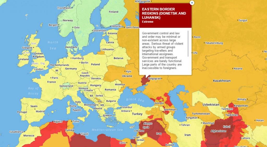 Частина України потрапила у перелік територій, найнебезпечніших для туристів у 2017 році