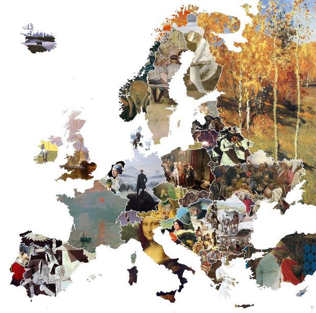 """Створена унікальна карта Європи з творів мистецтва. Україну представляє картина """"Запорожці пишуть листа…"""""""