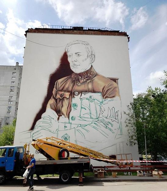 У Києві завершують роботу над величезним муралом із зображенням очільника Директорії УНР Симона Петлюри
